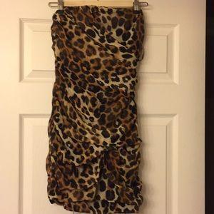 NWT Express strapless leopard print dress